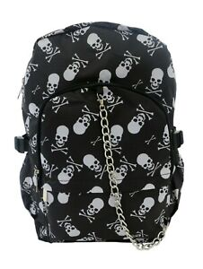 BLACK-WHITE-SKULLS-CROSSBONES-Backpack-Rucksack-School-College-Goth-Rock-Bag