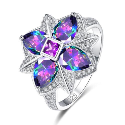 Flowers Cocktail Rainbow White Topaz /& Tanzanite Gemstone Silver Ring Size 6789