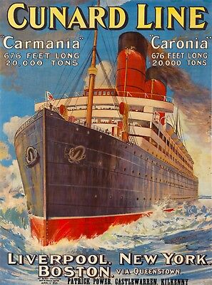 Vintage ship advertising Reproduction poster Britanic Cunard Wall art.