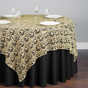CHEMICAL-LACE-TABLE-OVERLAY-54-034-X-54-034-SQUARE-TABLECLOTH-SEQUIN-COVER-SALE