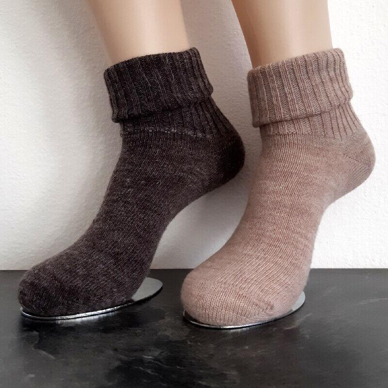 2 Paar Soft Alpaka Socken mit Umschlag 65%Schafwolle 35%Alpakawolle Braun 35-42