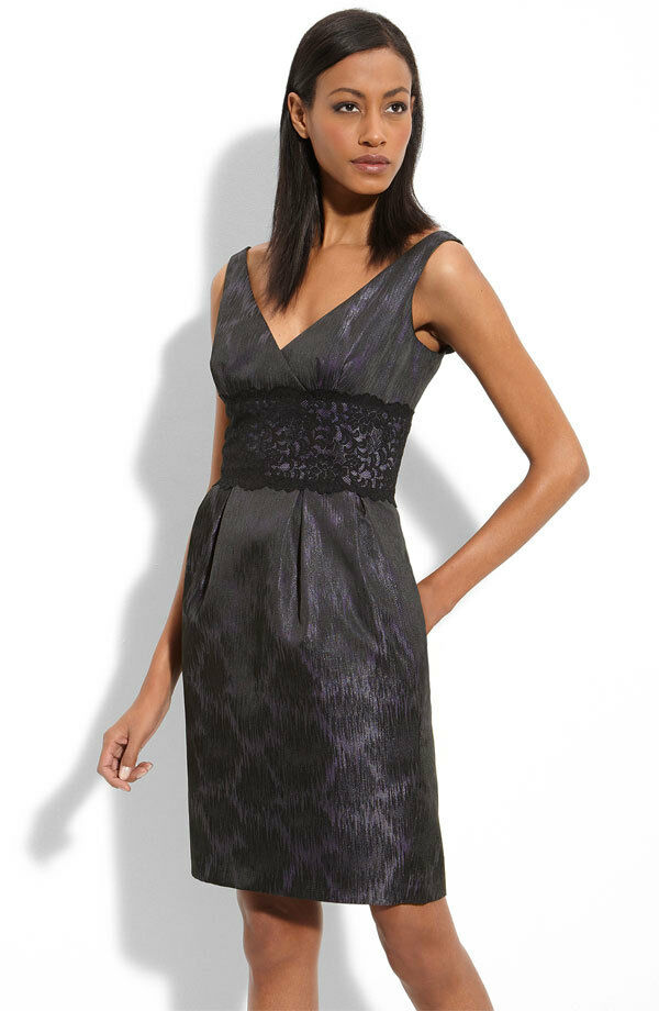 Maggy London Lace Inset Metallic Brocade Dress ( size 8)