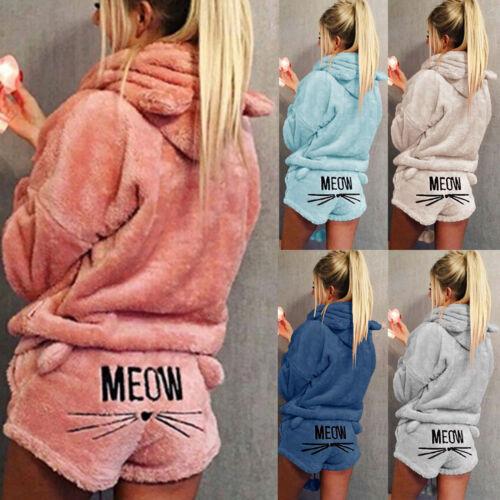 2PCS Women Cat Pajamas Soft Bathrobe Cute Shorts Winter Lounge Sleepwear Sets UK