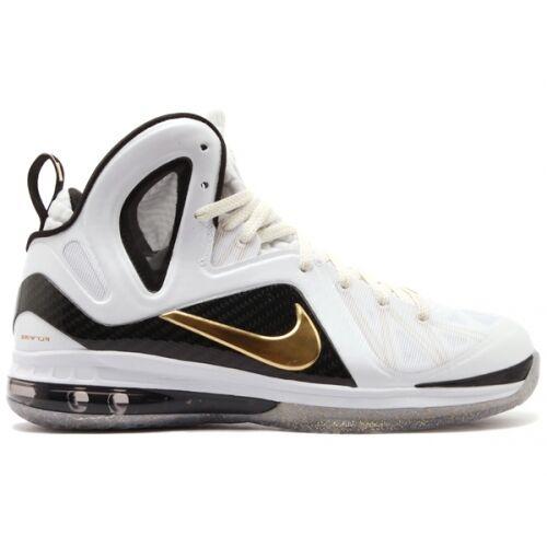 Nike Lebron 9 P.S. Elite SZ 13.5 Home blanc Metallic Gold Noir James 516958-100