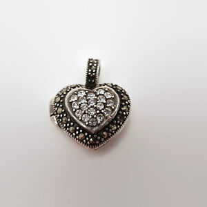 Sterling-Silver-Rhinestone-And-Marcasite-Heart-Shaped-Locket-Pendant