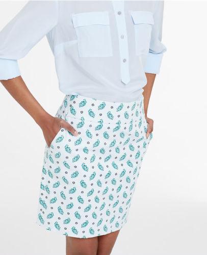 Ann Taylor - Size 12 Light bluee Atmosphere Floral Paisley Mini Skirt  79 (D611)