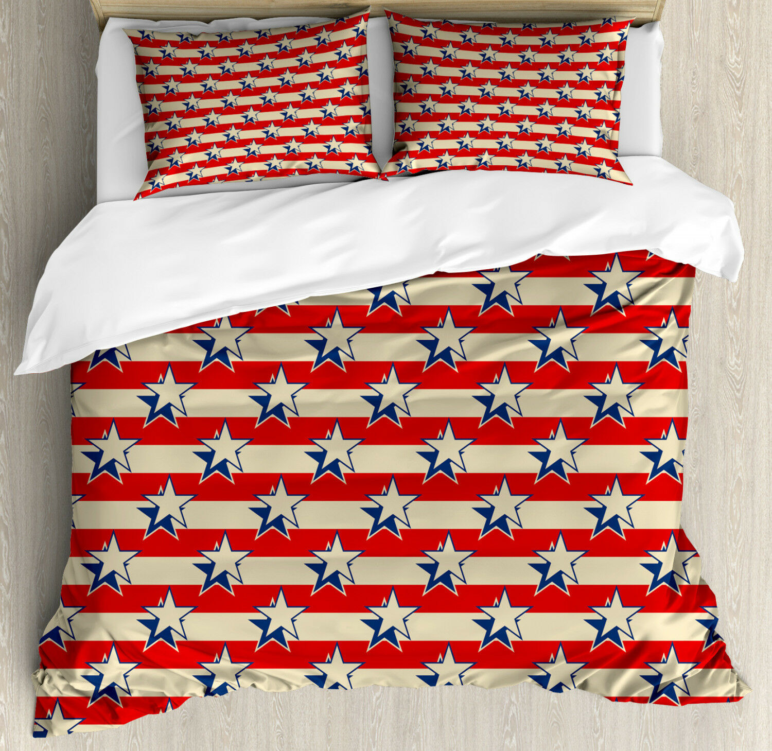 USA Duvet Cover Set with Pillow Shams Retro Independence Poster Print