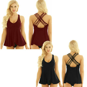 Women-039-s-Padded-Tankini-Bikini-V-neck-Cross-Back-Swimsuit-Bathing-Suit-Swimwear