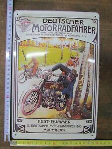 Blechschild-Oldtimer-Motorrad-Reklame-ca-20x30cm-Nostalgie-Retro
