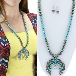 Blue-Silver-Squash-Blossom-32-034-Necklace-Western-Chic-Cowgirl-Gypsy-Rodeo