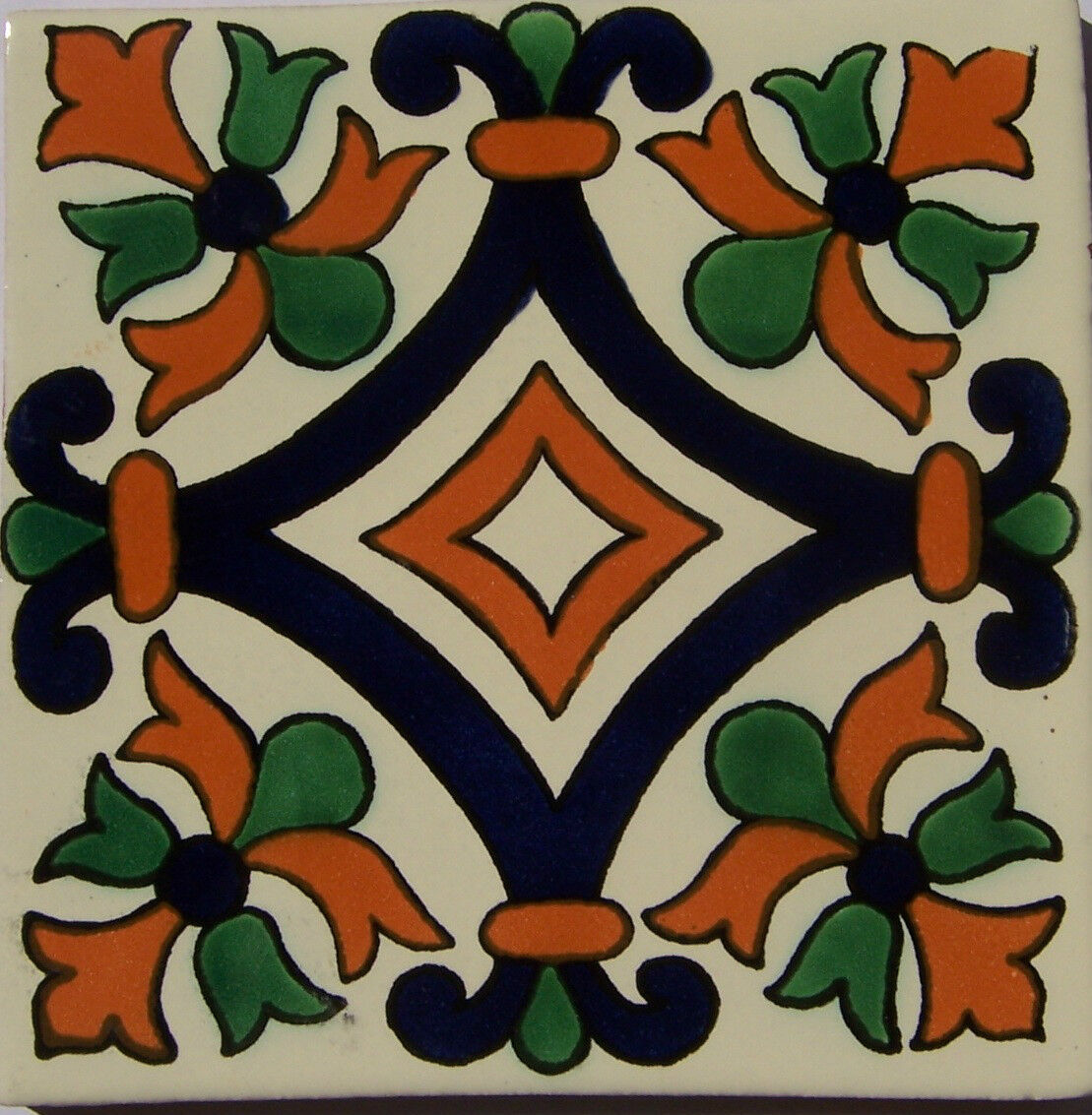 C249- Mexican Handmade Talavera Clay Tile Folk Art 4x4