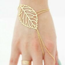 New Fashion Elegant Hollow Gold Plated  Leaves Ring and Bracelet For Girls women