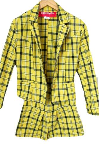CLUELESS YELLOW PLAID SUIT JACKET & Skirt XS teen