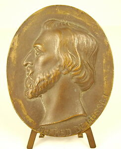 Medal-Locket-Profile-of-the-Writer-Alfred-of-Musset-to-1900-H-10cm-Medal