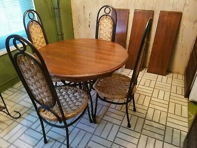 expandable dining table with four wicker seat & back chairs, used   eBay