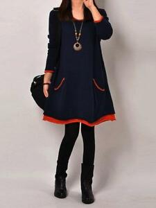 d757e2d4385 PopJulia - Paneled Casual H-line Crew Neck Plus Size Dress - Dark ...