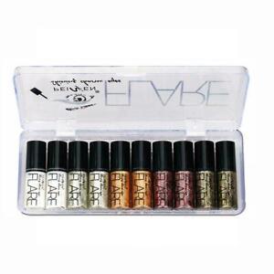 10Pcs-Set-impermeable-Sombra-de-ojos-Glitter-Brillante-pluma-maquillaje-delineador-liquido-se-reunio