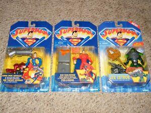 3-Rare-SEALED-SUPERMAN-Animated-MOC-Figure-Lot-Kenner-1996-Lex-Power-X-Ray-NICE