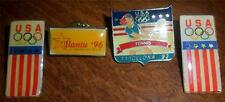 Lot of 4 USA Olympic Pins Barcelona 92 Tennis Atlanta 96 Shooting Team More GB