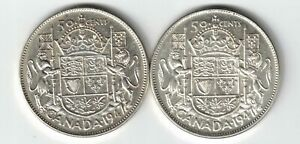 2-X-CANADA-FIFTY-CENTS-HALF-DOLLAR-KING-GEORGE-VI-SILVER-COIN-1947-S7-1947-C7