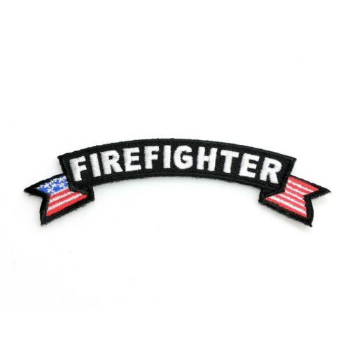 "Firefighter Rocker Patch 1st Reponder Biker Embroidered 3/"" Iron On FAST SHIP"