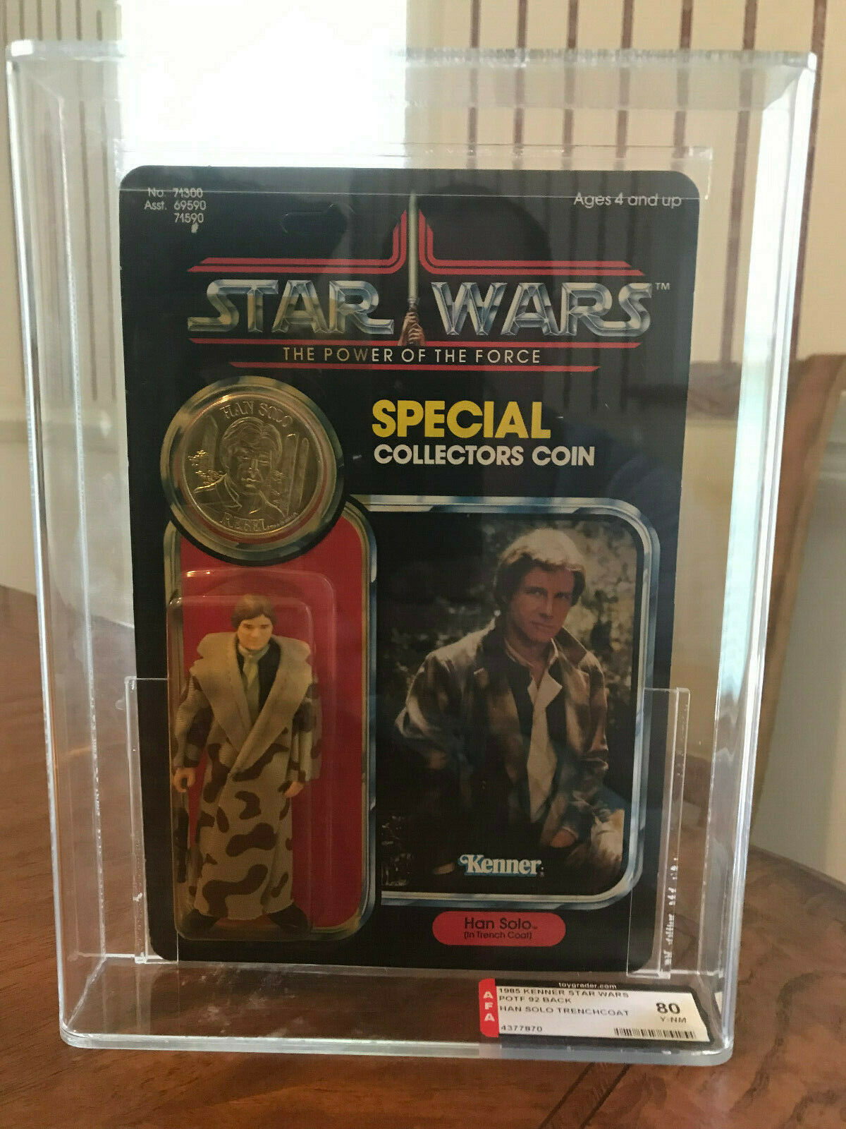 Kenner Star Wars POTF Han Solo (In Trench Coat) AFA 80Y 92 back MOC Unpunched