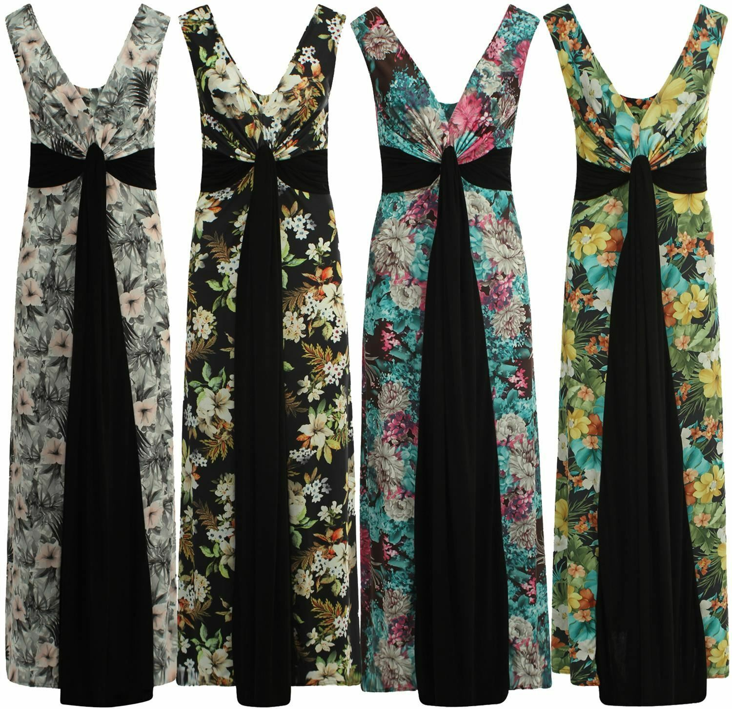 New Ladies Plus Size Grecian Boob Knot Floral Print Long Maxi Dress 8-26