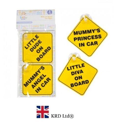 2 Piezas Bebé Niño Bebé Niña signos de Coche Niño A Bordo Señal no Coche Personalizado Reino Unido