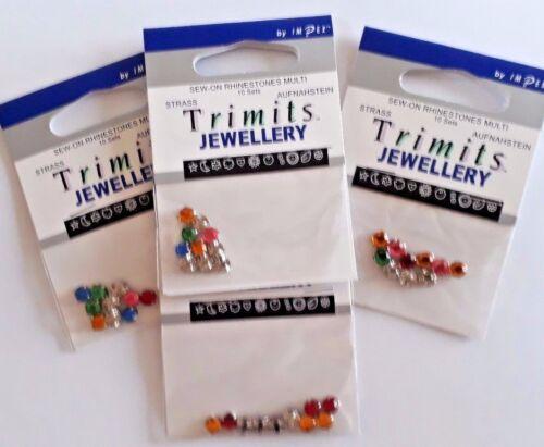 10 pieces Trimits Sew-on Rhinestones Multi