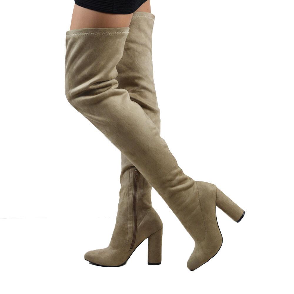 Da Donna Coscia gamba Tacco Alto stretch gamba Coscia Zip Stivali Al Ginocchio Lungo Misura 3-8 aaec77