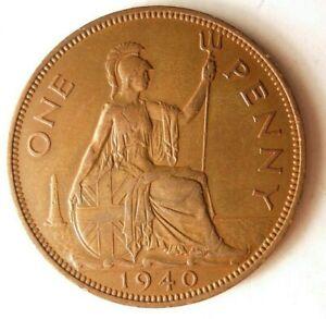 1940-Gran-Bretana-Penny-Alta-Calidad-Moneda-Superior-Vintage-Bin-24
