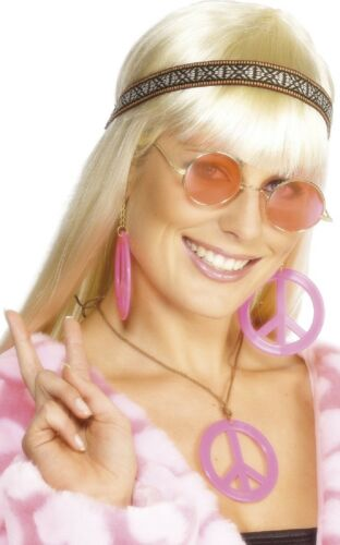 Ladies 70s Pink Hippy Headband Glasses Necklace Fancy Dress Costume Outfit Kit
