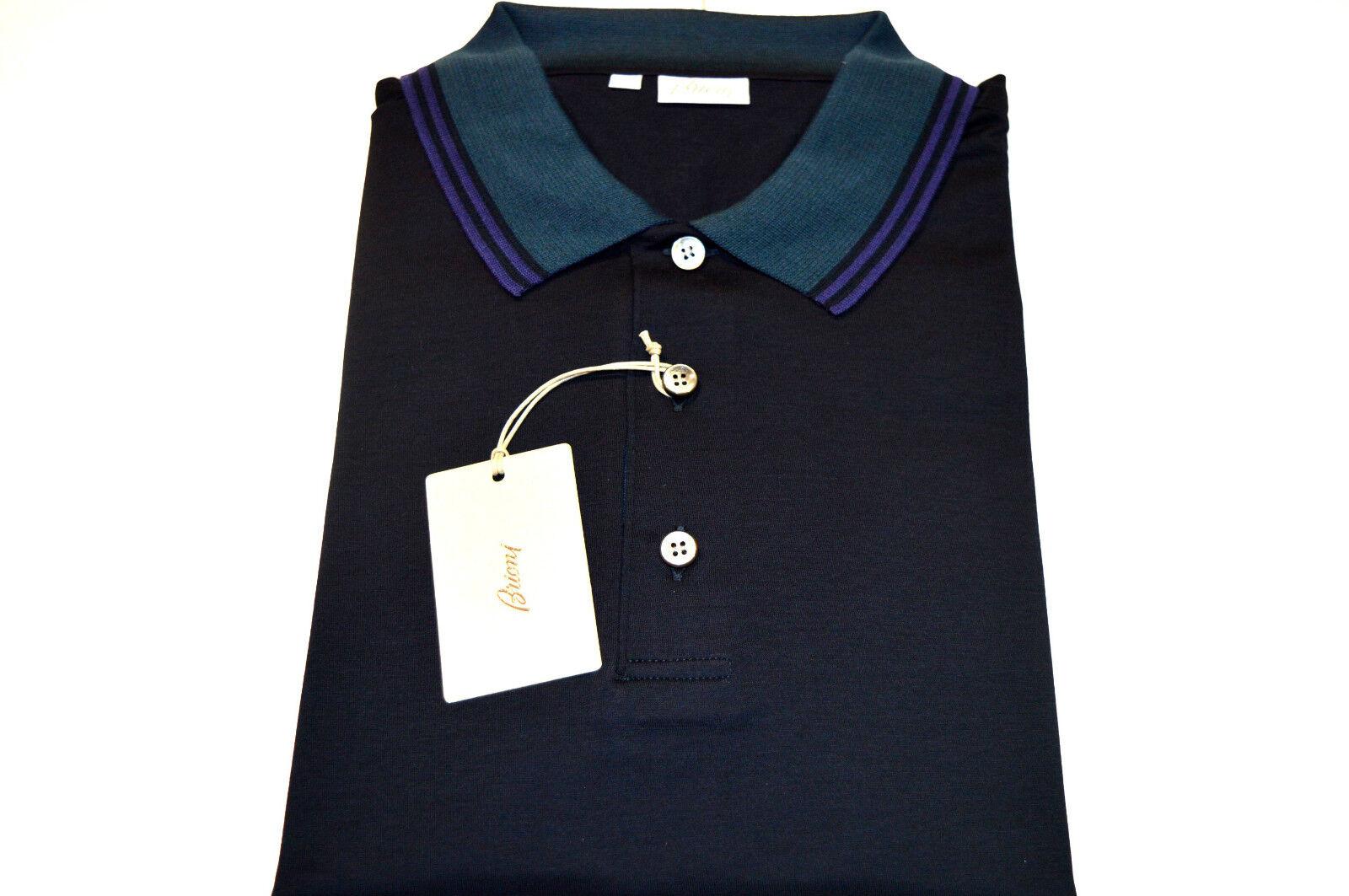 NEW  BRIONI Polo  Short Sleeve Cotton Größe L Us Eu 52 (Intarsia6)