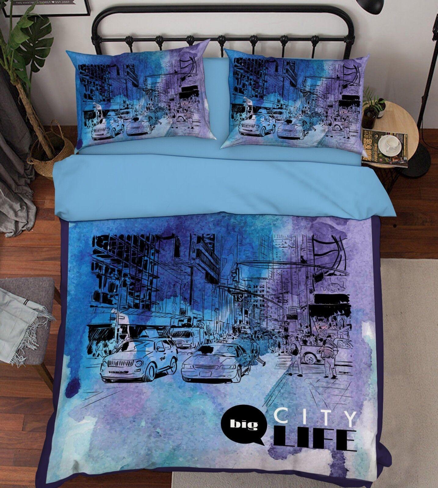 3D Painted Street 68 Bed Pillowcases Quilt Duvet Cover Set Single King UK Summer