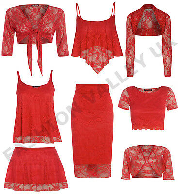 WOMENS FLORAL LACE LONG SLEEVE BOLERO SHRUG SKIRT CROP TOP STRAPPY BRA CAMI VEST