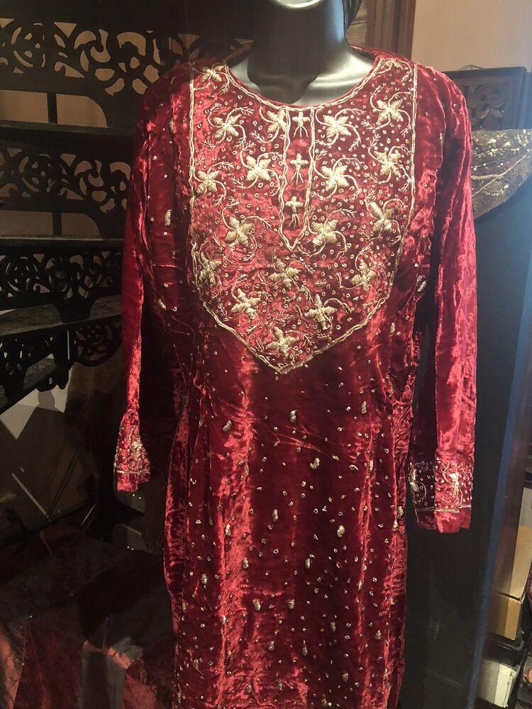 Juste Main Fabriqué Vintage Doré Brodé Rouge Velours Indien Salwar Robe Performance Fiable