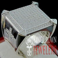 Mens Real Silver Big Bold Holy Cross White Gold Finish Lab Diamond Ring Band