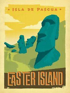 Chile-Easter-Island-Isla-De-Pascua-Poster-Vintage-Travel-Art-Print-13-20-034-24-36-034