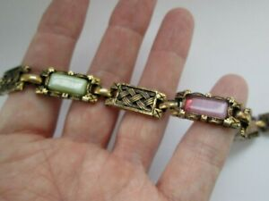 Vintage-Gold-Black-Tone-Scottish-Celtic-Knot-Paved-Glass-Panel-Link-Bracelet