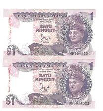 Offer Malaysia Jaffar Hussien banknote $1 prefix HH5914521-22(2r/n in 1price)