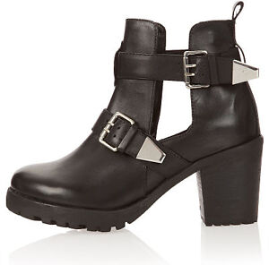 Topshop-ANCHOR-Black-Leather-Cut-Out-Silver-Buckle-Ankle-Heel-Boots-3-4-5-6-7-8