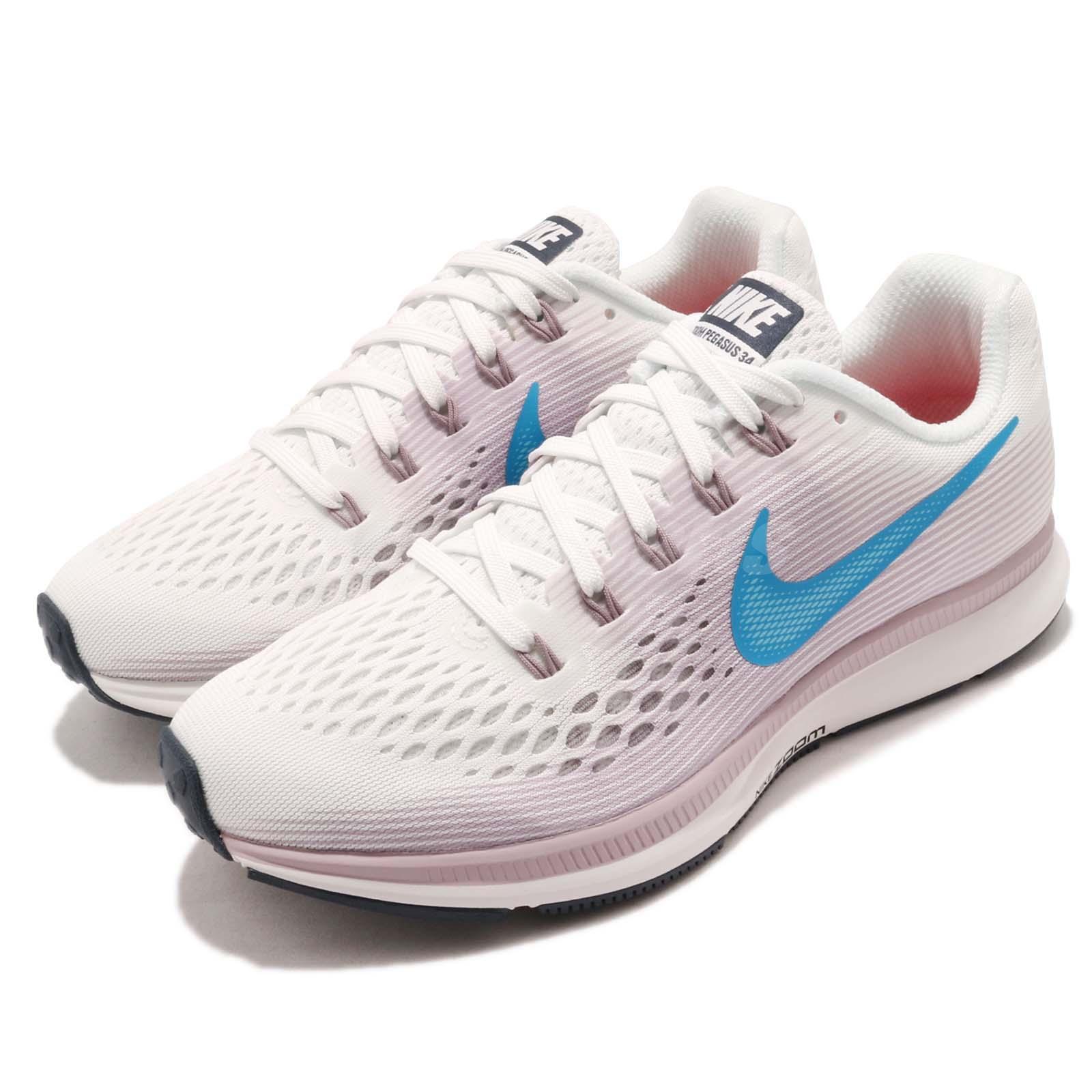 Nike Wmns Air Zoom Pegasus 34 Blanc Bleu Violet Femmes Chaussures De Course 880560-105