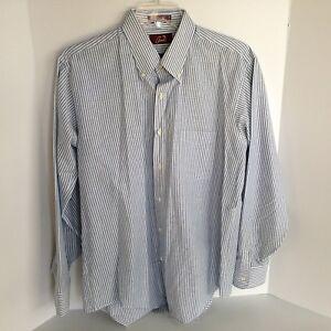 Arnie-Mens-17-34-35-Blue-amp-White-Pinstripe-Long-Sleeve-Dress-Shirt
