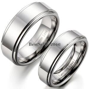 Silver-Polished-Flat-Ring-Tungsten-Carbide-Men-Women-Comfort-Fit-Wedding-Band