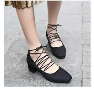 Womens-Strappy-Lace-Up-Square-Toe-Pumps-Chunky-Block-Mid-Heels-Fashion-Shoes-Sz