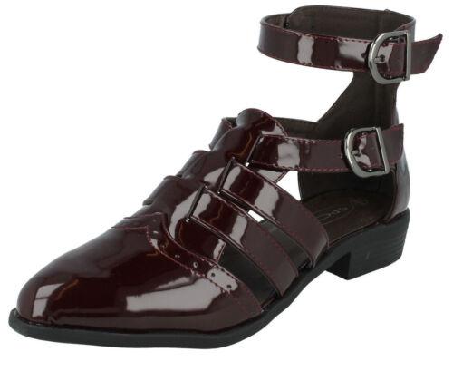 R59B Kett Spot On F9R761 Damen Burgund Lack Gladiator Stil Schuhe Stiefel