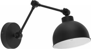 Lampada parete metallo nero design moderno con bracci snodati