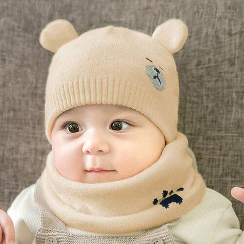 Baby Warm Winter Cute Bear Hat Scarf Knitt Wool Infant Boy Girls Earmuffs Cap