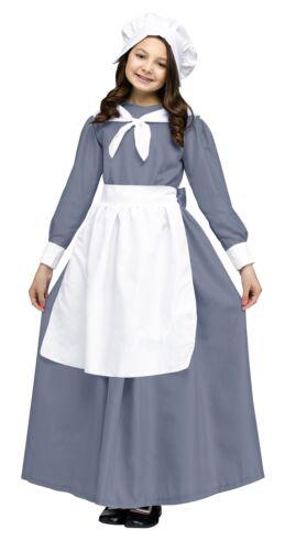 Pilgrim Girl Costume Grey Dress Prairie Pioneer Child Thanksgiving  Little House