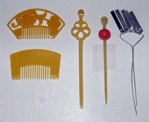 Japanese-Doll-Miniature-KANZASHI-set-B-5-pcs-Pins-Comb